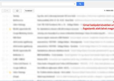 Gmail belépés után, beállítások