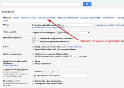 Gmail Beállítások főképernyő