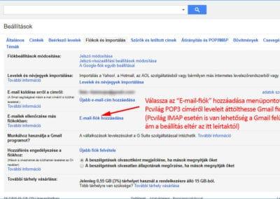 Gmail fiókok és importálás