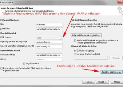 Outlook kézi fiók paraméterek megadása