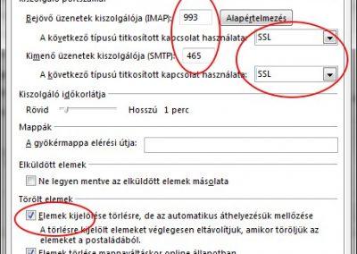Outlook speciális kézi IMAP paraméterek